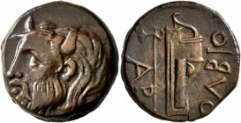 SKYTHIA. Olbia. Circa 310-280 BC. AE (Bronze, 22 mm, 9.60 g, 11 h). Horned head of the river-god Borysthenes to left. Rev. OΛBIO Axe and bow in bowcas...