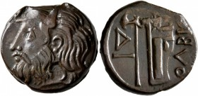 SKYTHIA. Olbia. Circa 310-280 BC. AE (Bronze, 21 mm, 8.96 g, 12 h). Horned head of the river-god Borysthenes to left. Rev. OΛBIO Axe and bow in bowcas...