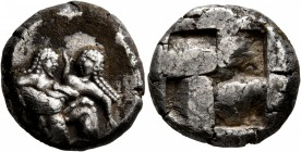 ISLANDS OFF THRACE, Thasos. Circa 525-500 BC. Stater (Silver, 19 mm, 9.61 g). Nude ithyphallic satyr, with long beard and long hair, moving right in '...