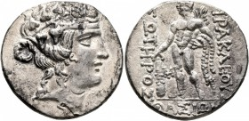 ISLANDS OFF THRACE, Thasos. Circa 148-90/80 BC. Tetradrachm (Silver, 30 mm, 16.19 g, 12 h). Head of youthful Dionysos to right, wearing ivy wreath and...