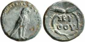 KINGS OF THRACE. Seuthes III, circa 323-316 BC. Chalkous (Bronze, 15 mm, 2.65 g, 4 h), Seuthopolis. Eagle with closed wings standing right. Rev. ΣEY/Θ...