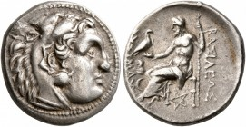 KINGS OF THRACE. Lysimachos, 305-281 BC. Drachm (Silver, 17 mm, 4.32 g, 12 h), Kolophon, 297/6. Head of Herakles to right, wearing lion skin headdress...