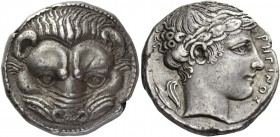 Bruttium, Rhegium. Tetradrachm circa 420-410, AR 17.42 g. Lion's mask facing. Rev. PEΓINOΣ Laureate head of Apollo r.; behind, olive-sprig. Herzfelder...