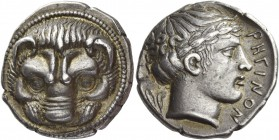 Bruttium, Rhegium. Tetradrachm circa 415-400, AR 17.34 g. Lion's mask facing. Rev. PHΓINON Laureate head of Apollo r.; behind, two olive leaves. Herzf...