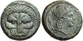 Bruttium, Rhegium. Bronze circa 351-280, Æ 10.72 g. Lion's mask facing. Rev. PHΓINΩN Laureate head of Apollo r.; behind, leaf. SNG ANS 687. Historia N...