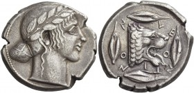 Leontini. Tetradrachm circa 455-450, AR 17.01 g. Laureate head of Apollo r. Rev. LE – O – N – TI – NO – N Lion's head r., with jaws open and tongue pr...