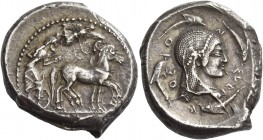 Syracuse. Tetradrachm circa 478-475, AR 17.31 g. Slow quadriga driven r. by charioteer, holding kentron and reins; above, Nike flying r. to crown hors...