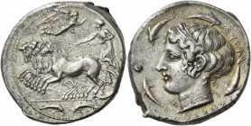 Syracuse. Tetradrachm unsigned work by Sosion and Eumenos circa 425-413, AR 17.33 g. Fast quadriga driven l. by charioteer, holding reins; above, Nike...