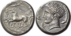 Syracuse. Tetradrachm in the style of Eukleidas, circa 399-387, AR 17.30 g. Fast quadriga driven l. by charioteer, holding kentron and reins; above, N...