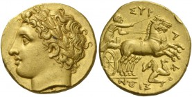 Syracuse. Decadrachm circa 317-310, AV 4.30 g. Laureate head of Apollo l; below, [Σ]. Rev. ΣΥΡ – Α – Κ – Ο – ΣΙΩΝ Prancing biga driven r. by chariotee...
