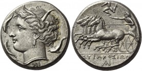 Syracuse. Tetradrachm circa 310-305, AR 17.12 g. Head of Kore-Persephone l., wearing barley wreath, triple-pendant earring and necklace; beneath neck ...