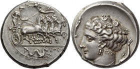The Carthaginians in Italy, Sicily and North Africa. Tetradrachm, Panormus as Zyz circa 350-320, AR 17.55 g. Fast quadriga driven r. by charioteer hol...