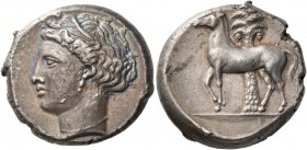 "The Carthaginians in Italy, Sicily and North Africa. Tetradrachm, uncertain mint in Sicily ""people of the camp"" circa 350-320, AR 17.18 g. Head of Tan..."