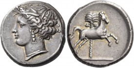 "The Carthaginians in Italy, Sicily and North Africa. Tetradrachm, uncertain mint in Sicily ""people of the camp"" circa 330-320, AR 16.81 g. Head of Tan..."