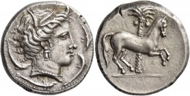 "The Carthaginians in Italy, Sicily and North Africa. Tetradrachm, uncertain mint in Sicily ""people of the camp"" circa 330-320, AR 17.30 g. Head of Tan..."