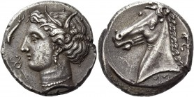 "The Carthaginians in Italy, Sicily and North Africa. Tetradrachm, uncertain mint in Sicily ""people of the camp"" circa 320-310, AR 16.81 g. Head of Tan..."