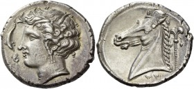 "The Carthaginians in Italy, Sicily and North Africa. Tetradrachm, uncertain mint in Sicily ""people of the camp"" circa 320-310, AR 17.04 g. Head of Tan..."