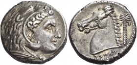 "The Carthaginians in Italy, Sicily and North Africa. Tetradrachm, uncertain mint in Sicily ""people of the camp"" circa 320-300, AR 16.91 g. Head of Her..."