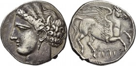 The Carthaginians in Italy, Sicily and North Africa. Decadrachm, Carthage circa 260, AR 37.86 g. Head of Tanit (Kore-Persephone) l., wearing barley wr...