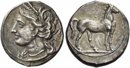 The Carthaginians in Italy, Sicily and North Africa. ¼ shekel, Locri 216-211, AR 1.97 g. Head of Tanit (Kore-Persephone) l., wearing barley-wreath, pe...