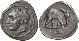 The Carthaginians in Italy, Sicily and North Africa. Half shekel, Carthago or uncertain mint in Sicily circa 213-210, AR 3.17 g. Male head (Melqart or...