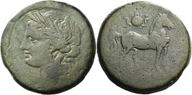 The Carthaginians in Italy, Sicily and North Africa. 15 shekels, Carthago 201-195, Æ 93.95 g. Head of Tanit (Kore-Persephone) l., wearing barley-wreat...