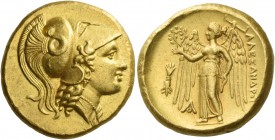 Kings of Macedonia, Alexander III, 336 – 323 and posthumous issues. Distater, Aegae (?) circa 336-323, AV 17.27 g. Head of Athena r., wearing triple-c...