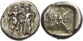 Thraco-Macedonian Tribes, Siris or Lete. Stater circa 500, AR 9.86 g. Nude ithyphallic satyr standing r. and grasping r. arm of nymph, trying to move ...