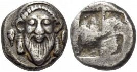 Uncertain tribes. Tetrobol circa 500, AR 2.72 g. Facing bearded head of Dionysus, wearing headband terminating in two bunches of grapes. Rev. Quadripa...