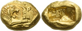 Kings of Lydia, Time of Croesus, 561-546 or later. Stater light series, Sardes circa 550-520, AV 8.06 g. Confronted foreparts of lion with extended r....