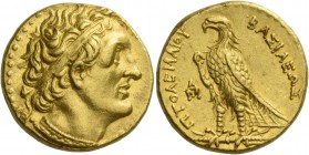 Ptolemy I Soter king, 305–285. Pentadrachm, Alexandria, circa 305-285, AV 17.86 g. Diademed head r., with aegis around neck. Rev. BAΣIΛEΩΣ – ΠTOΛEMAIO...