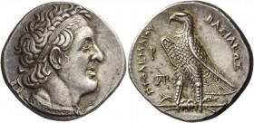 Ptolemy I Soter king, 305–285. Tetradrachm, Alexandria circa 300-285 BC, AR 14.32 g. Diademed head r., wearing aegis, behind ear, small Δ. Rev. BAΣIΛE...