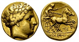 Philippos II AV Stater, Amphipolis mint 