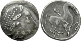 "EASTERN EUROPE. Imitations of Philip II of Macedon (2nd century BC). Tetradrachm. Mint in the central Carpathian region. ""Kinnlos"" type."