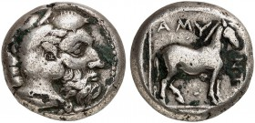 COINS OF THE GREEK WORLD. MACEDONIAN KINGDOM. Amyntas III. 393-369 BC. Didrachm 389/383 BC. Head of Herakles to r. Rv. Horse in linear square right, a...