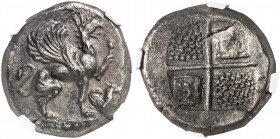 COINS OF THE GREEK WORLD. IONIA. Teos. Stater c. 470-450 BC. Griffin with curled wings seated right, raising forepaw, below forepaw a forepart of Pega...