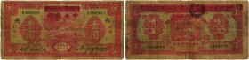 BANKNOTEN. China. Central Bank of China (National). 1 Yuan o. J. (altes Datum 1934). PEIPING. Pick 205Ac. Selten / Rare. Faltmitte mit Loch / Centerfo...