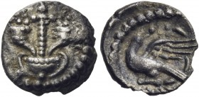 CELTIC, Britain. Atrebates & Regni. Verica, circa AD 10-40. Minim (Silver, 8.5 mm, 0.24 g, 4 h), 'Cornucopiae Eagle' type. Thyrsus between two cornuco...