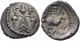 CELTIC, Britain. Atrebates & Regni. Verica, circa AD 10-40. Minim (Silver, 9 mm, 0.34 g, 5 h), Minim, 'Acorns' type. C-F Three intertwined acorns. Rev...