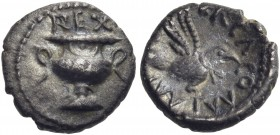 CELTIC, Britain. Atrebates & Regni. Verica, circa AD 10-40. Minim (Silver, 8 mm, 0.30 g, 1 h), 'Wine Cup' type. REX Double handed garnished wine cup. ...