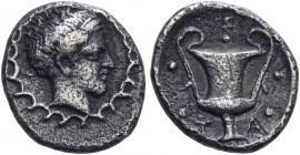 CALABRIA. Tarentum. Circa 450-380 BC. Pentonkion (Silver, 9.5 mm, 0.67 g, 2 h). Diademed head of Athena to right, set on her circular aegis. Rev. TA /...