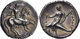 CALABRIA. Tarentum. Circa 315-302 BC. Nomos (Silver, 21 mm, 7.95 g, 6 h). Nude horseman galloping r., holding round shield and two spears in his left ...