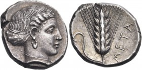 LUCANIA. Metapontum. Circa 400-340 BC. Nomos or Didrachm (Silver, 20 mm, 7.63 g, 3 h). Head of Demeter (?) to right, wearing a pendant earring and a s...