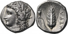 LUCANIA. Metapontum. Circa 330-290 BC. Nomos or Didrachm (Silver, 20 mm, 7.82 g, 10 h). Head of Demeter to left, wearing wreath of barley ears and tri...