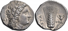 LUCANIA. Metapontum. Circa 280-279 BC. Nomos or Didrachm (Silver, 22 mm, 7.76 g, 7 h). ΔI Head of Demeter to right, wearing wreath of barley ears, tri...