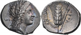 LUCANIA. Metapontum. Circa 290-280 BC. Nomos or Didrachm (Silver, 23 mm, 7.67 g, 10 h). ΔI Head of Demeter to right, wearing wreath of barley ears, tr...