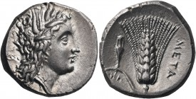 LUCANIA. Metapontum. Circa 290-280 BC. Nomos or Didrachm (Silver, 21 mm, 7.67 g, 4 h). ΔI Head of Demeter to left, wearing wreath of barley ears and p...