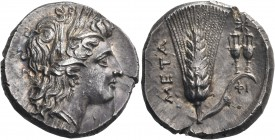 LUCANIA. Metapontum. Circa 290-280 BC. Nomos or Didrachm (Silver, 21 mm, 7.93 g, 2 h). Head of Demeter to right, wearing wreath of barley ears. Rev. Μ...