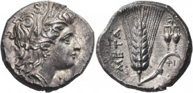 LUCANIA. Metapontum. Circa 290-280 BC. Nomos or Didrachm (Silver, 21 mm, 7.71 g, 2 h). [Δ] Head of Demeter to right, wearing wreath of barley ears, tr...