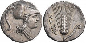 LUCANIA. Metapontum. Punic occupation, circa 215-207 BC. Half Shekel (Silver, 17.5 mm, 3.52 g, 9 h), Punic standard. Head of Athena to right, wearing ...